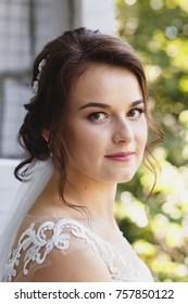 beautiful bride smiling portrait
