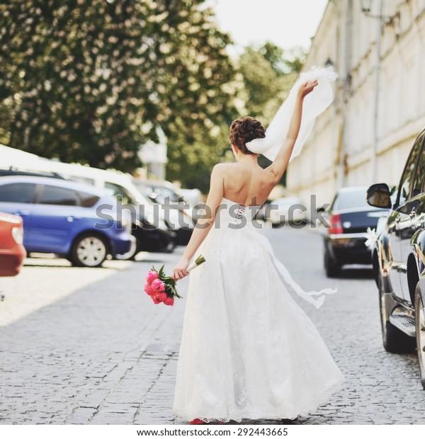 Beautiful Bride Wedding Bouquet Tulips Walking Stock Photo Edit