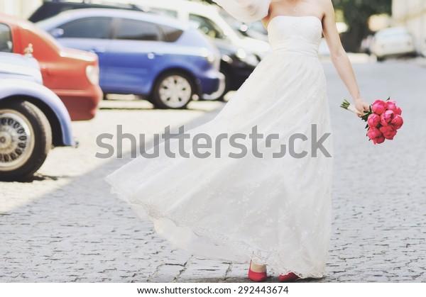 Beautiful Bride Wedding Bouquet Tulips Walking Stock Image