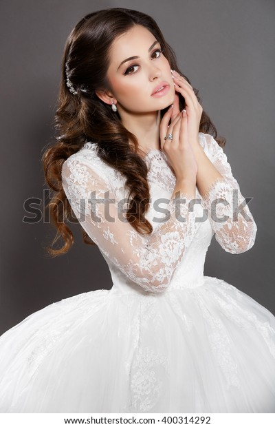 Beautiful Bride Wedding Makeup Hairstyle Vogue Stock Photo