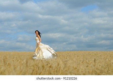 Beautiful bride in a wheat field
