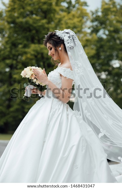 Beautiful Bride White Dress Garden Beautiful Royalty Free Stock