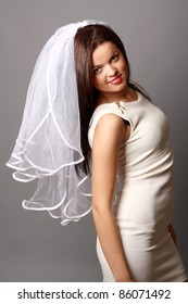 beautiful bride with a white veil