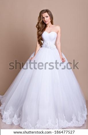 Beautiful Bride White Wedding Dress Hairstyle Stock Photo Edit Now