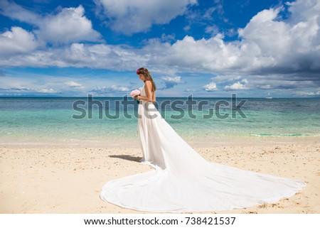 Beautiful Bride White Wedding Dress Big Stock Photo Edit Now
