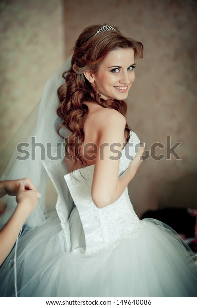 Beautiful Bride White Wedding Dress Hairstyle Stock Photo Edit