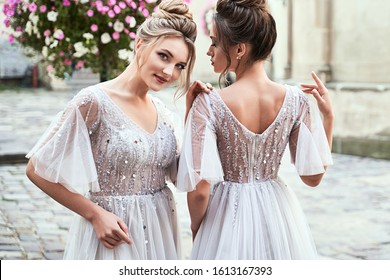Beautiful bridesmaids in gorgeous light silver dresses in old beautiful European city on a wedding day in summer. Dresses are floor length or full-lenghth long tulle with half sheer sleeves and side
