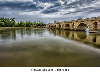 Beautiful Bridge above Meric River at cloudy day in Edirne, Turkey