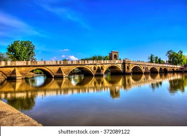 Beautiful Bridge above Tundzha River in Edirne, Turkey