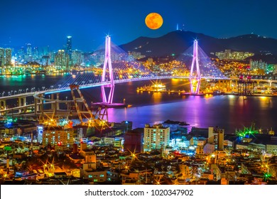 Beautiful bridge in Busan port ai night time, South Korea.