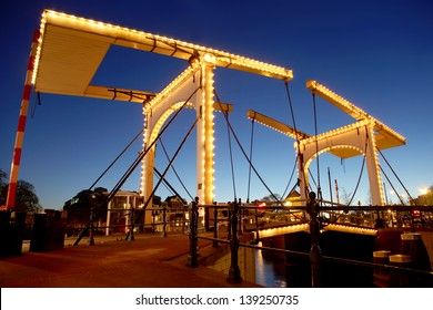 Beautiful bridge in the evening, Amsterdam, Netherlands
