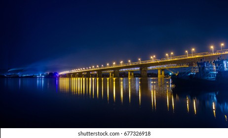 beautiful bridge on Brahmaputra river, assam, India