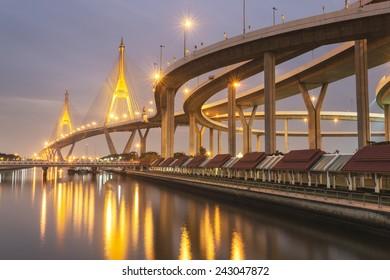 Beautiful bridge with reflected light, Samutpakan, Thailand.