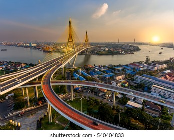 beautiful Bridge and River bird eye view landscape during sunset in Bangkok Thailand