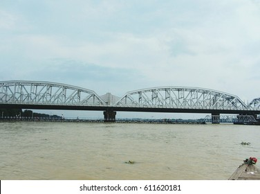 beautiful bridge view from the middle of hooghly river Kolkata