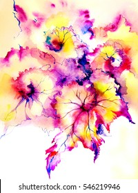 Beautiful bright abstract decorative exotic begonia leaves. Elements to create design patterns, ornament, backgrounds, wallpaper, textiles.Watercolor on paper texture with graphics. Hand illustration.