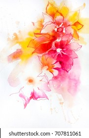 Beautiful bright abstract decorative exotic flowers. Elements to create design patterns, ornament, backgrounds, wallpaper, textiles.Watercolor on paper texture with graphics. Hand illustration.