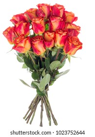 beautiful bright bouquet of red-orange two-tone roses on white isolated background