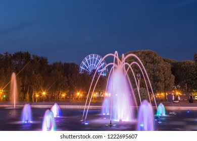 Beautiful, bright fountain on Pushkin Square in the city of Ivanovo, Russia. Photographing in the evening.