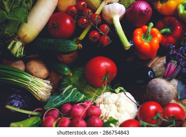 Beautiful Bright And Fresh Vegetables For The Diet And Weight Loss,  Selection Of Vegetables For