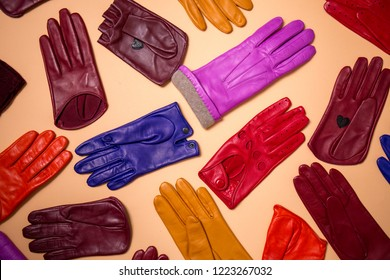 Beautiful bright gloves made of genuine leather for women