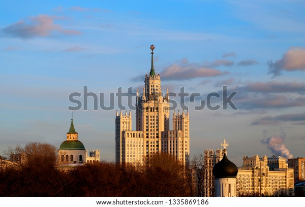 Beautiful bright landscape with a high-rise building in Moscow at sunset