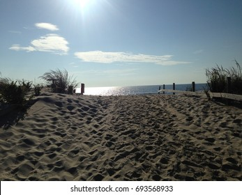 A beautiful bright morning on sandy beach