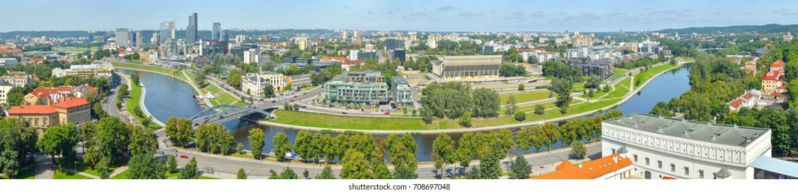 Beautiful and bright panoramic view from top of the hill of Gediminas' Tower on Vilnia river and old Vilnius center, Vilnius Lithuania.  Panorama of Vilnius city.