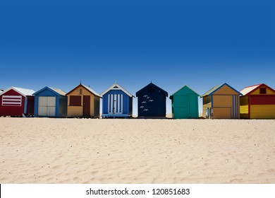 Beautiful Brighton Beach with colorful houses in Melbourne, Australia