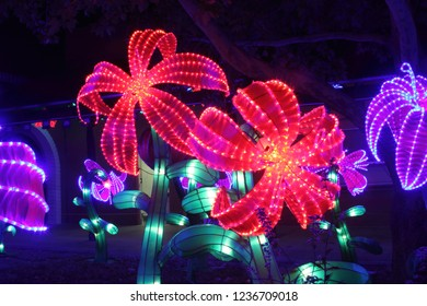 A beautiful and brilliant light display in the style of Chinese lanterns, but much developed, lights up the night in a park in New Mexico for the holiday season.