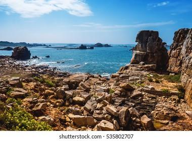 Beautiful Brittany sea and rocky coast landscape