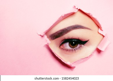 Beautiful brown eye, perfect eyebrows. Beauty salon, eyebrow master, tattoo master shooter and eyebrow. Beautiful eye on a pink background.