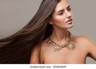 Beautiful Brown Girl. Healthy Long Brown Hair.