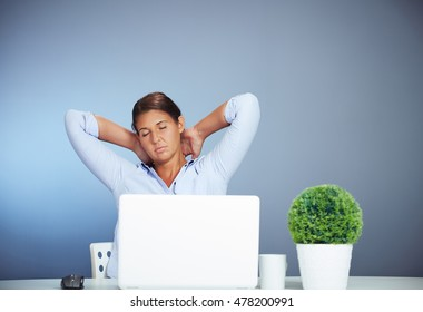 Beautiful Brown Haired Businesswoman Working On Her Laptop Feeling Sick