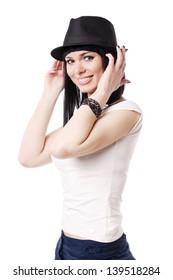beautiful brunette bortrait with black hat isolated