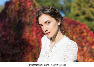Beautiful brunette with braids around head in a stylish vintage white lace long sleeve blouse looking with a sly mysterious expression in an autumn park
