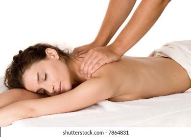 beautiful brunette enjoying in massage