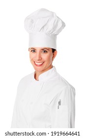Beautiful brunette female head chef isolated on white background