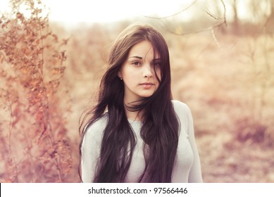 beautiful brunette in a field on a sunny day