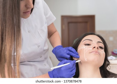 Beautiful brunette getting ready for aesthetic treatment at medical office, Female doctor drawing on patient face, Facial aesthetic treatment concept