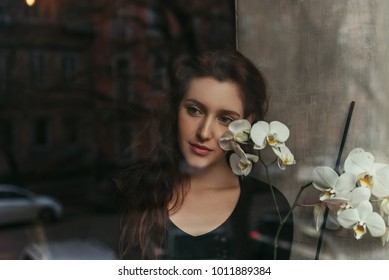 beautiful brunette girl behind the glass, portrait, beautiful flower, coffee shop window, concept of female emotions