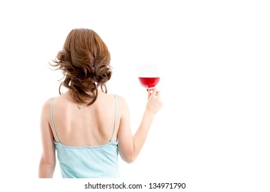 Beautiful brunette girl drinking red wine isolated