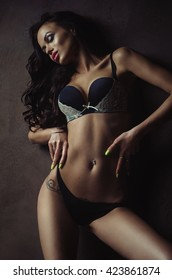 beautiful brunette  girl in lingerie