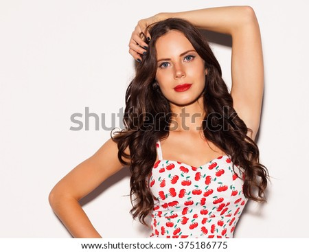 Beautiful Brunette Girl Long Hair Blue Stock Photo Edit Now