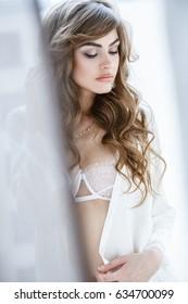 Beautiful brunette girl in sexy underwear posing by the window in the morning