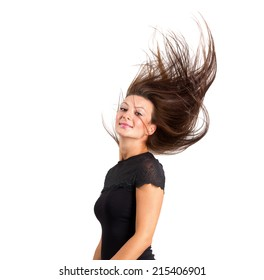 Beautiful brunette hair motion freeze isolated over white.