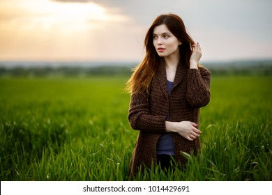 Beautiful brunette lady in wheat field at sunset. Happy beautiful woman in meadow. Beautiful carefree woman in fields