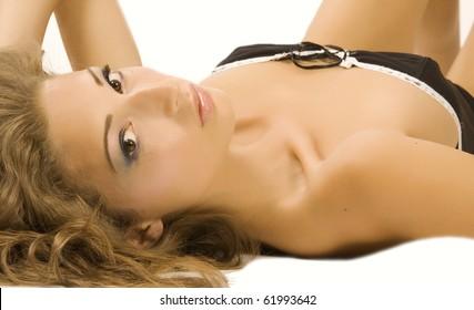 Beautiful brunette lingerie model