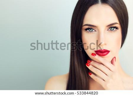 Beautiful brunette model girl