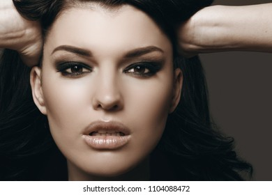 beautiful brunette with perfect makeup, beauty